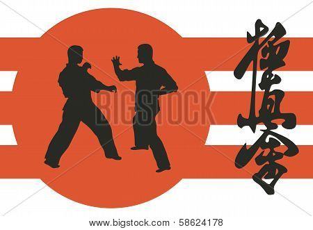 Two Men Are Engaged In Karate On A Red Background