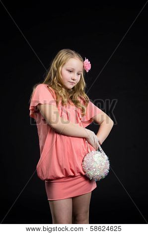 child in pink classic dress