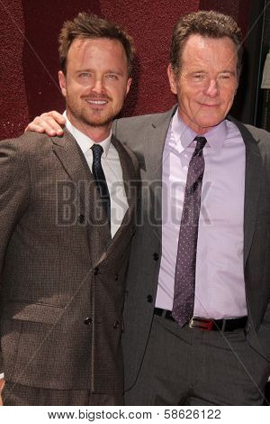 Aaron Paul and Bryan Cranston at the Bryan Cranston Star on the Hollywood Walk of Fame Ceremony, Hollywood, CA 07-16-13
