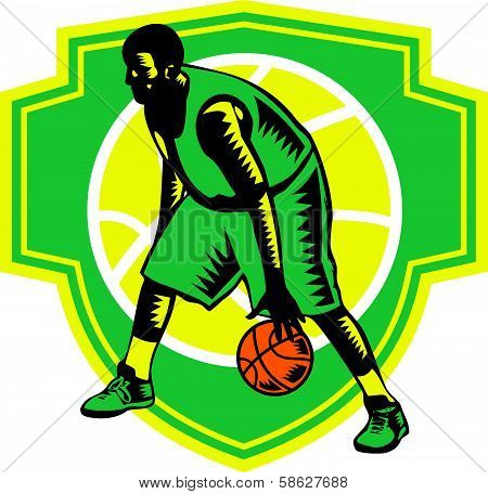 Basketball Player Dribbling Ball Woodcut Shield Retro