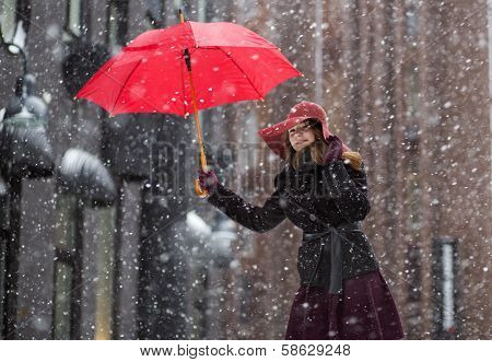 Woman At Winter Day With Red Umbrella