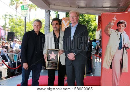 Paul Reiser, Joe Mantegna and Ed Begley Jr. at the Peter Falk Star on the Hollywood Walk of Fame Ceremony, Hollywood, CA 07-25-13