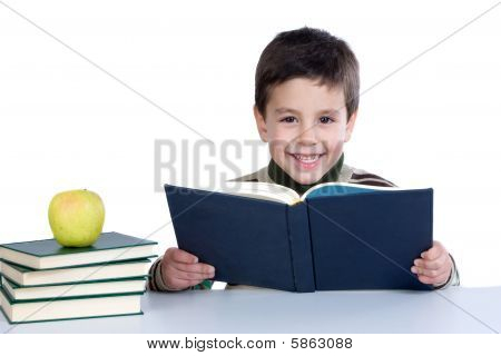 Adorable Child Studying With Books And Apple