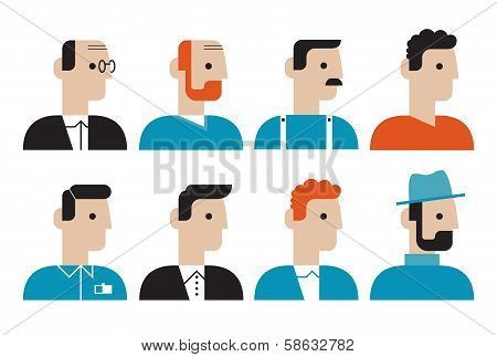 Different People Faces Flat Icons Set