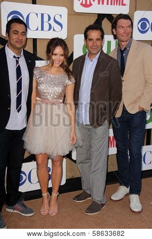 Kal Penn, Rebecca Breeds, Tony Shalhoub and Jerry O'Connell at the CBS, Showtime, CW 2013 TCA Summer Stars Party, Beverly Hilton Hotel, Beverly Hills, CA 07-29-13