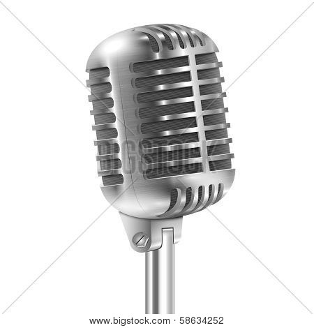 Isolated On White Metallic Retro Microphone.