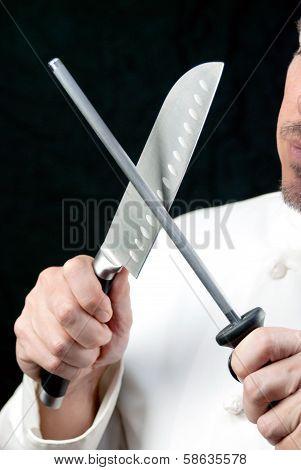 Chef Sharpens Knife, Side