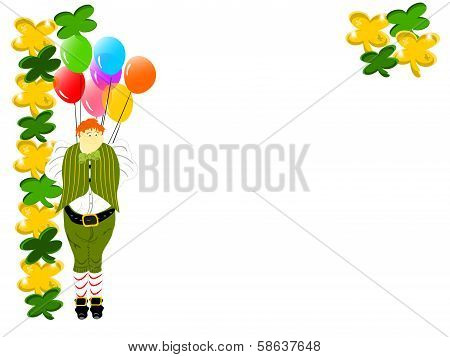 leprechaun large gold green clover