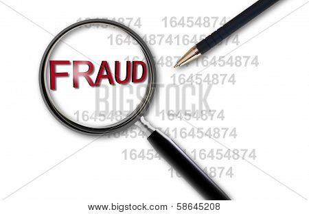 Close Up Of Magnifying Glass On Fraud