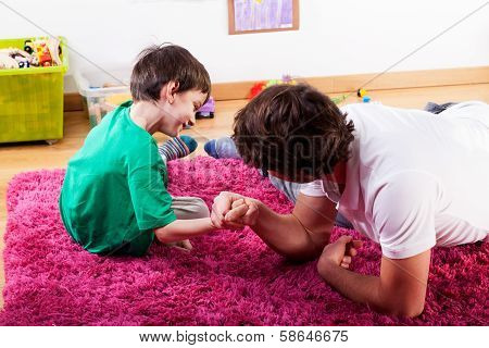 Young Dad Spending Happy Time With Son