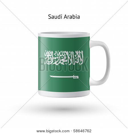 Saudi Arabia flag souvenir mug on white background.