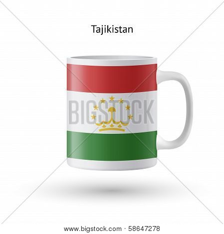 Tajikistan flag souvenir mug on white background.