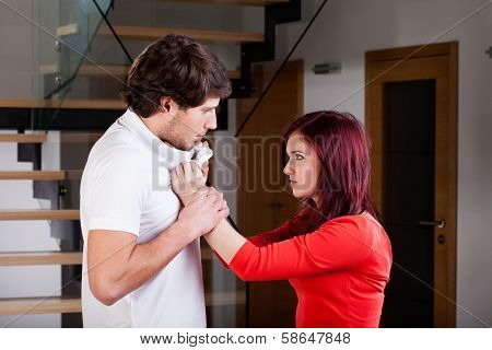 Woman Using Violence To Her Partner
