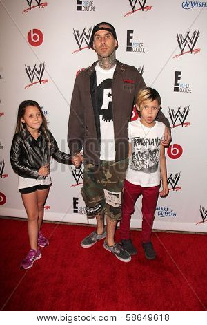 Travis Barker with his children at Superstars for Hope honoring Make-A-Wish, Beverly Hills Hotel, Beverly Hills, CA 08-15-13