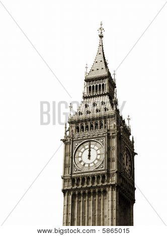 Big Ben, London. Isolated on white.