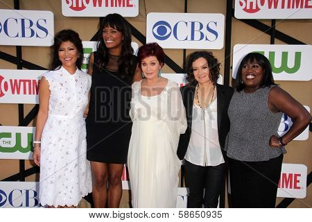 Julie Chen, Aisha Tyler, Sharon Osbourne, Sara Gilbert and Sheryl Underwood at the CBS, Showtime, CW 2013 TCA Summer Stars Party, Beverly Hilton Hotel, Beverly Hills, CA 07-29-13