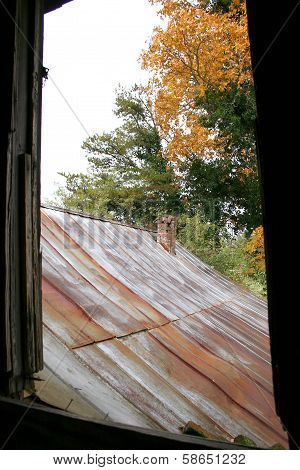 Rusted tin roof on old house in Autumn