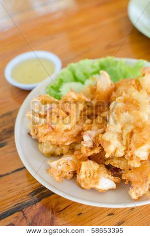 Deep Fried Fresh Squid And Seafood With Sauce