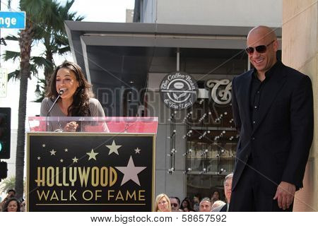 Michelle Rodriguez, Vin Diesel at the Vin Diesel Star on the Hollywood Walk of Fame Ceremony, Hollywood, CA 08-26-13