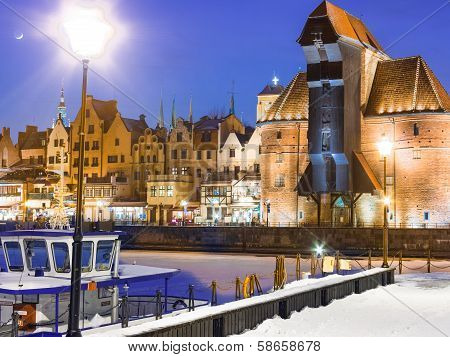 GDANSK, POLAND - February 1, 2014: Moltawa River And The Crane
