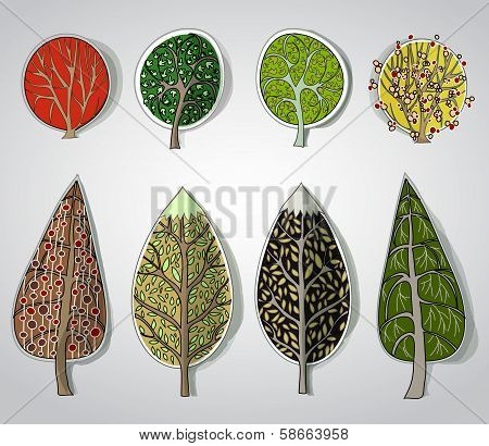 background with abstract decorative trees made of paper stickers