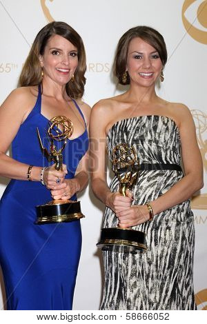 Tina Fey and Tracey Wigfield at the 65th Annual Primetime Emmy Awards Press Room, Nokia Theater, Los Angeles, CA 09-22-13