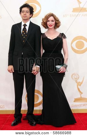 Geoffrey Arend and  Christina Hendricks at the 65th Annual Primetime Emmy Awards Arrivals, Nokia Theater, Los Angeles, CA 09-22-13