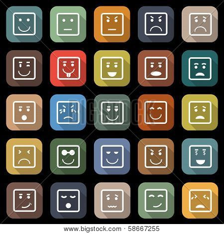 Square Face Flat Icons With Long Shadow