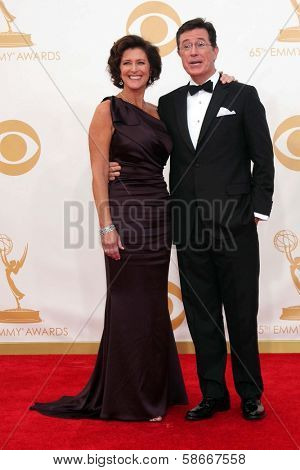 Stephen Colbert and Evelyn McGee-Colbert at the 65th Annual Primetime Emmy Awards Arrivals, Nokia Theater, Los Angeles, CA 09-22-13