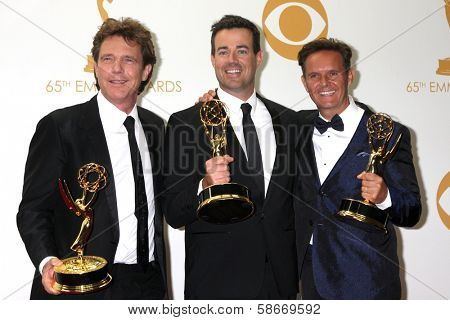 Carson Daly and Mark Burnett at the 65th Annual Primetime Emmy Awards Press Room, Nokia Theater, Los Angeles, CA 09-22-13