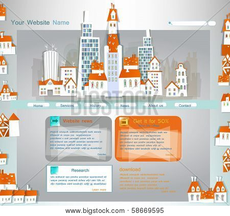 web template with abstract city street