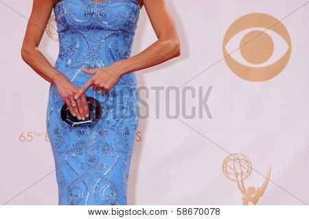 Giuliana Rancic showing her ring at the 65th Annual Primetime Emmy Awards Arrivals, Nokia Theater, Los Angeles, CA 09-22-13
