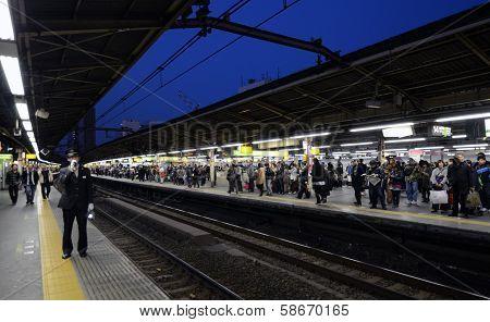 Tokyo -nov 23 : Rush Hour At The Shinjuku Train Station