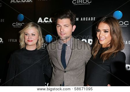 Amy Poehler, Adam Scott and Jessica Alba at the