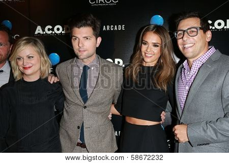 Amy Poehler, Adam Scott, Jessica Alba and Stu Zicherman at the