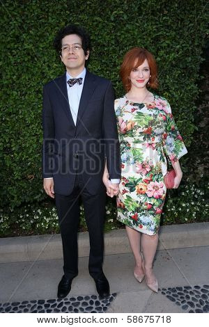 Geoffrey Arend and Christina Hendricks at The Rape Foundation's Annual Brunch, Private Location, Beverly Hills, CA 09-29-13