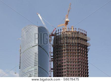 Skyscraper Develop On Sky Background