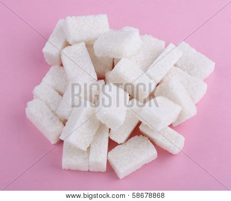 Heap Of Sugar On Pink Background