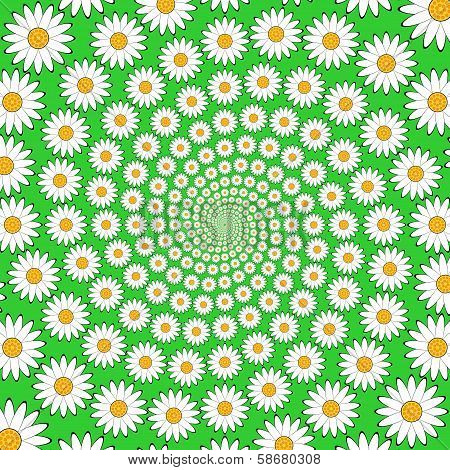 Design Chamomile Helix Movement Background. Colorful Floral Decorative Whirl Backdrop