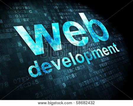 SEO web development concept: Web Development on digital background