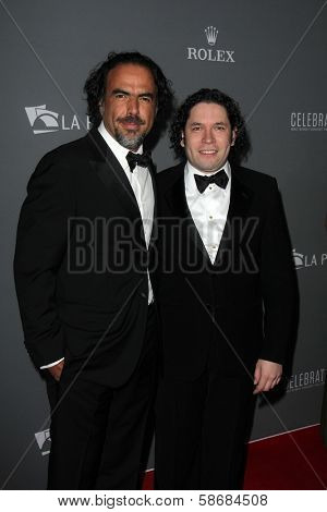 Alejandro Gonzalez Inarritu and Gustavo Dudamel at the Walt Disney Concert Hall 10th Anniversary Celebration, Walt Disney Concert Hall, Los Angeles, CA 09-30-13