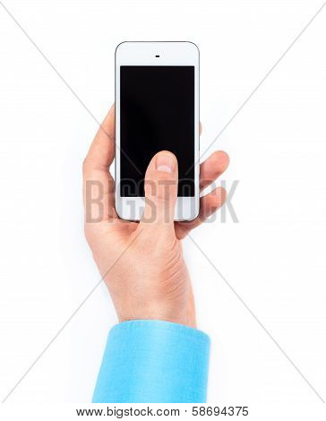 Businessman's Hand Using Smartphone On White