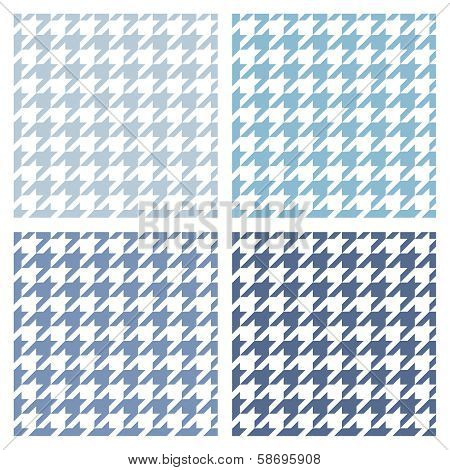 Houndstooth seamless vector blue and white pattern set