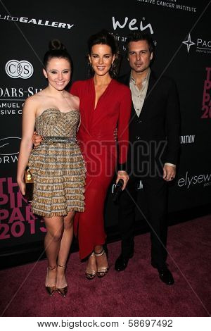 Lily Mo Sheen, Kate Beckinsale and Len Wiseman at the Pink Party 2013, Hangar 8, Santa Monica, CA 10-19-13