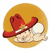stock photo of baby cowboy  - Cowboy baby with big western hat - JPG