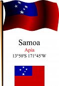 foto of samoa  - samoa wavy flag and coordinates against white background vector art illustration image contains transparency - JPG