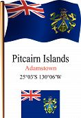 picture of pacific islander ethnicity  - Pitcairn islands wavy flag and coordinates against white background vector art illustration image contains transparency - JPG