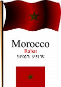 Morocco Wavy Flag And Coordinates