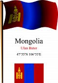 picture of bator  - mongolia wavy flag and coordinates against white background vector art illustration image contains transparency - JPG
