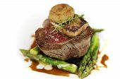 picture of white asparagus  - Fillet steak on a white plate with asparagus and potato rosti for decoration - JPG
